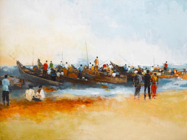 Ismael Kateregga (Ugandan, born 1980) Peak Hours II 58 1/4 x 77 3/4in (148 x 197.5cm) unframed
