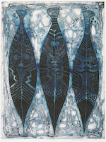 Bruce Onobrakpeya (Nigerian, born 1932) Figure studies, a set of seven 53 9/16 x 19 1/8in (136 x 48.5cm) and smaller