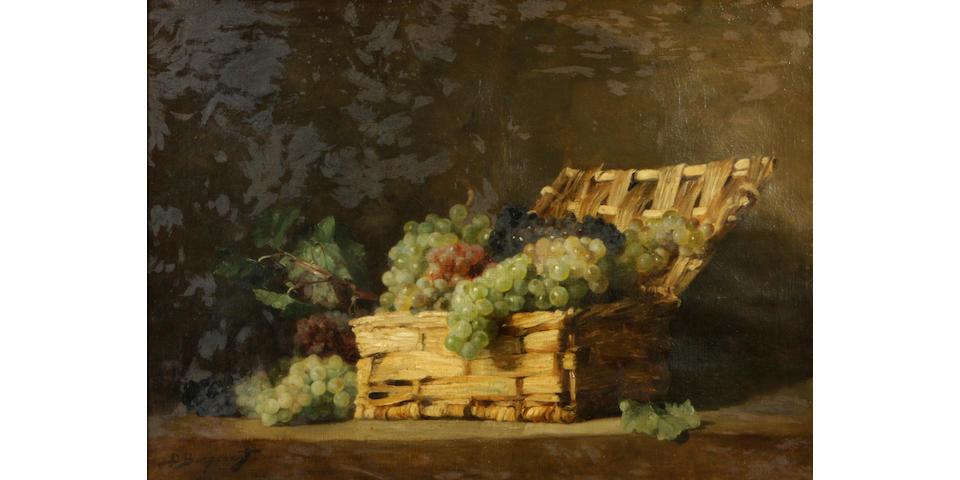 Denis Pierre Bergeret (French, 1846-1910) A still life of grapes in a basket 21 x 29in
