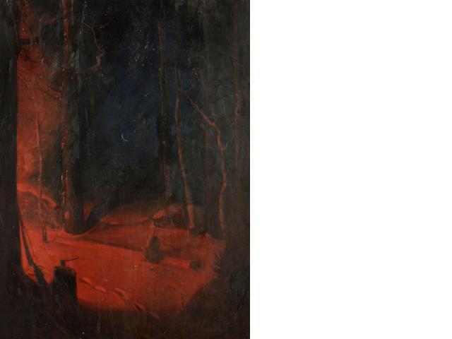 Svend Rasmussen  Svendsen (Norwegian/American, 1864-1945) The forge door 32 x 24in