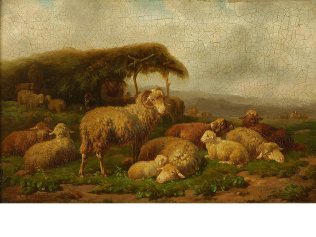 Continental School Sheep grazing in a field 7 1/2 x 11 1/2in