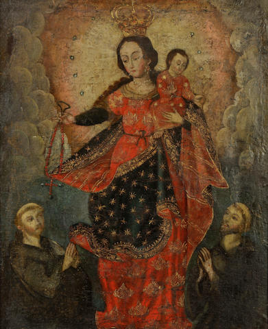 Spanish Colonial School The Madonna and Child 26 x 21in