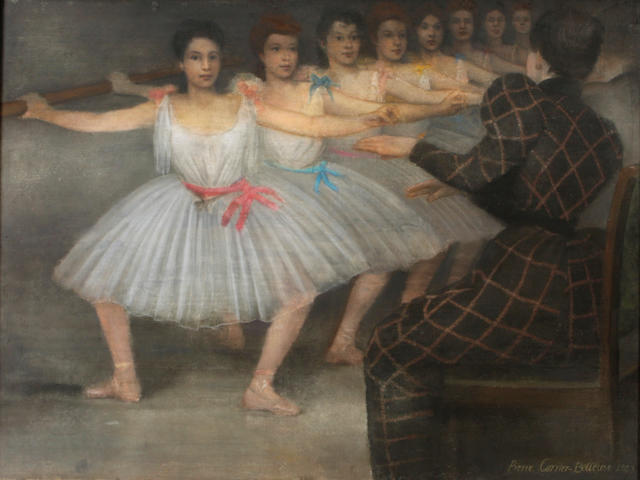 Pierre Carrier-Belleuse (French, 1851-1932) Young ballerinas at the barre sight 37 1/4 x 47 1/4in