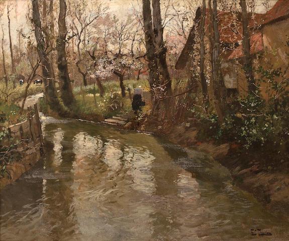 Frits Thaulow (Norwegian, 1847-1906) A stream through a village 23 7/8 x 29in (60.4 x 73.6cm)