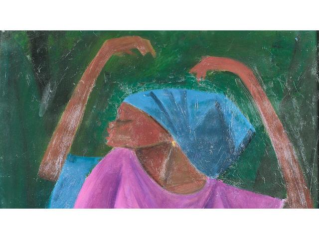 Yusuf Grillo (Nigerian, born 1934) Sabada 44 1/2 x 21 1/4in (113 x 54cm)