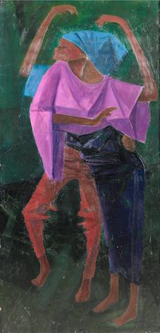 Yusuf Adebayo Grillo (Nigerian, born 1934) Sabada 44 1/2 x 21 1/4in (113 x 54cm)