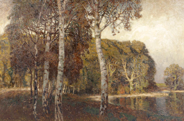 Karl Wendel (German, born 1878) A grove of trees beside a pond at dusk 50 x 73in
