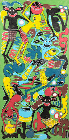 George Lilanga di Nyama (Tanzanian, 1934-2005) Hebo Nisadienii Huu Mzi Gio Kwasa Babu Nimechoka Sana 58 11/16 x 29 1/8in (149 x 74cm)