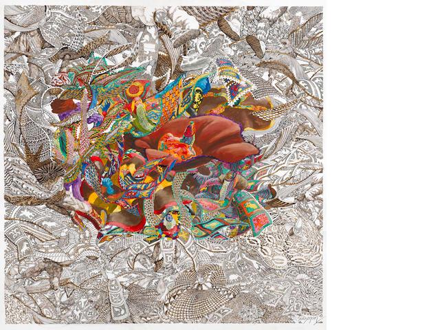 Julien Sinzogan (Beninese, born 1957) Ronde d'Egungun - Passage du Milleiu II 36 1/4 x 36 5/8in (92 x 93cm)