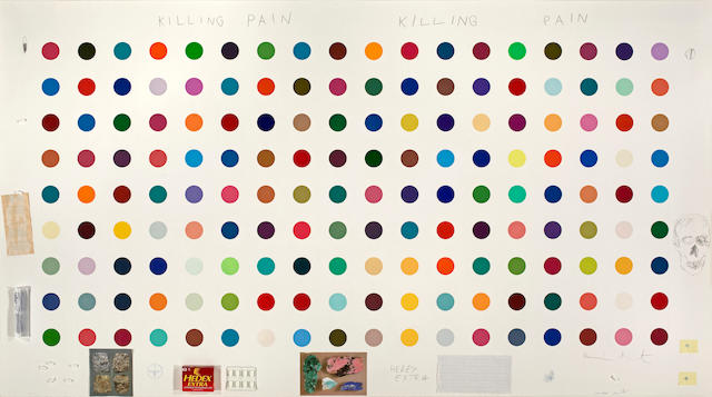 "Damien Hirst  Killing Pain, Killing Pain  44"" x 78""  monoprint with collage and drawing, 162 different ""spots""  signed in pencil by artist, lower right  52"" x 86-1/2"" (framed dimensions)  2004"