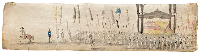 EMMERT, PAUL. 1826-1867. HAWAIIAN PANORAMA, TOTALING OVER 25 FEET IN LENGTH.  Funeral of His late Majesty Kamehameha III. Honolulu: January 10, 1855.