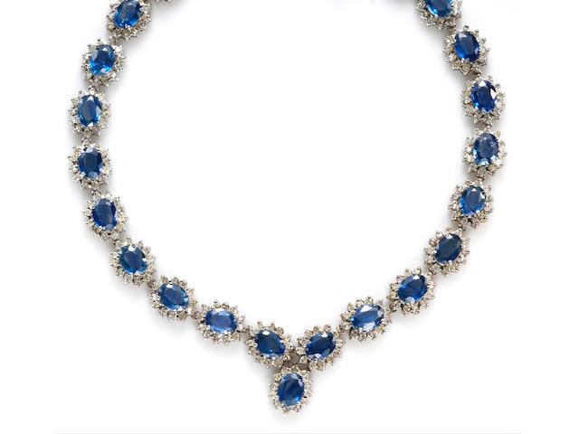 A sapphire and diamond necklace