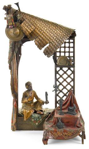 A Franz Bergman cold painted bronze Antique Dealers lamp