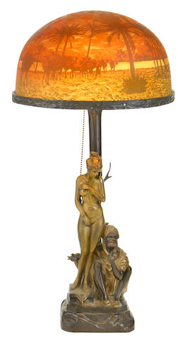 An Austrian cold painted metal and cameo glass Slave Market lamp  in the manner of Bruno Zach, circa 1925