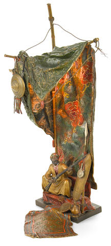A Franz Bergman cold painted bronze figural lamp