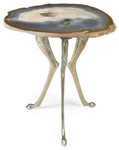 A silvered brass and agate specimen side table