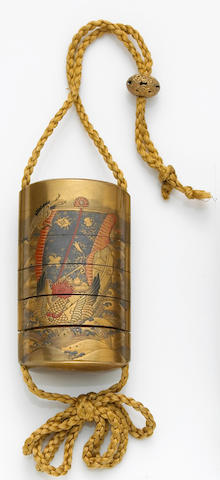 A gold lacquer five-case inro 19th Century