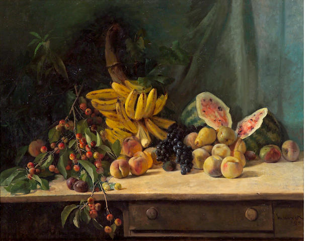 William Hubacek (American, 1871-1958) Still life with fruit on a tab, 1895 36 x 46in