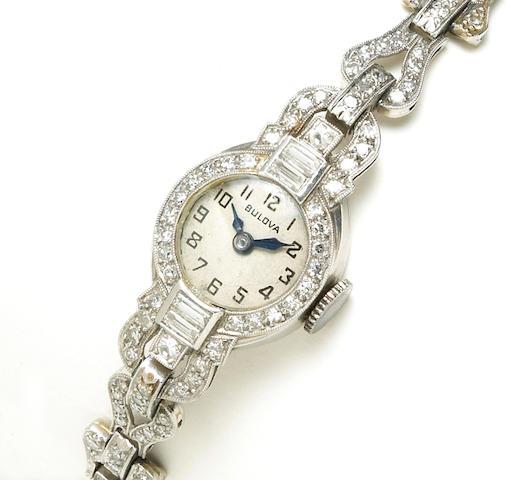 An art deco diamond bracelet wristwatch, Bulova,