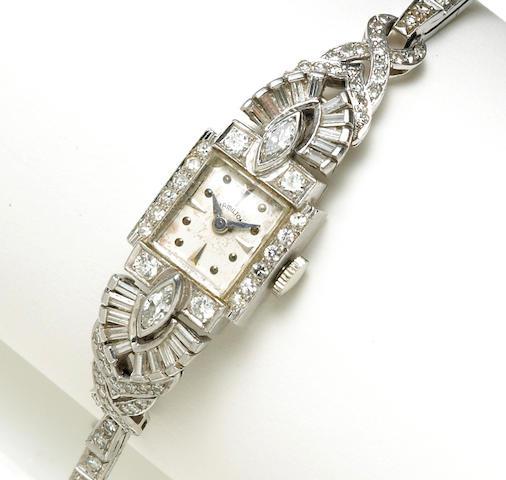 A diamond bracelet wristwatch, Hamilton