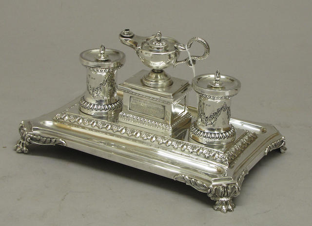 Victorian Silver Desk Stand as a Trophy