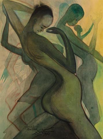Ben (Benedict Chukwukadibia) Enwonwu, M.B.E (Nigerian, 1917-1994) Africa Dances, Eve Noir 40 x 30in (101.6 x 76.2cm)