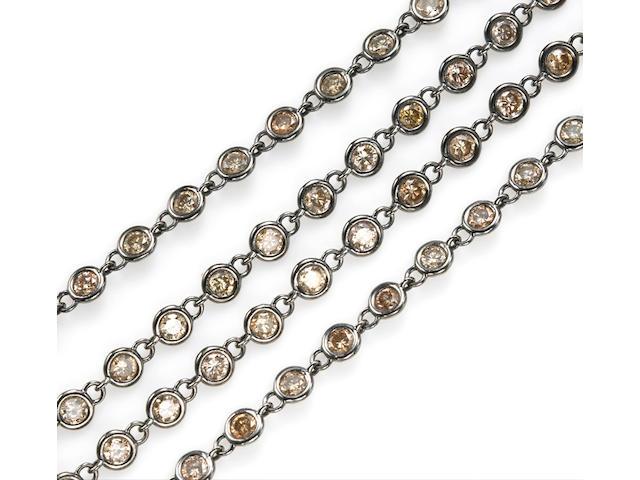 A colored diamond longchain necklace