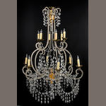 A Southern Italian parcel gilt iron twelve light chandelier <br>part 19th century