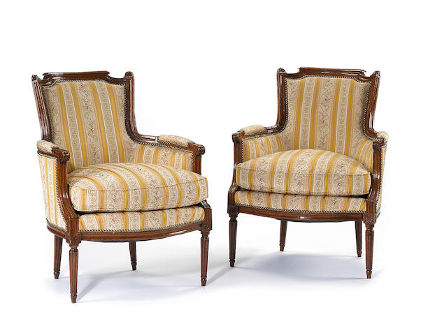 A pair of Louis XVI beechwood bergères en cabriolet <br>fourth quarter 18th century
