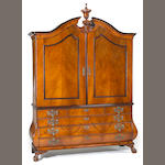 A Dutch Rococo bronze mounted walnut and kingwood linen press<br>mid 18th century