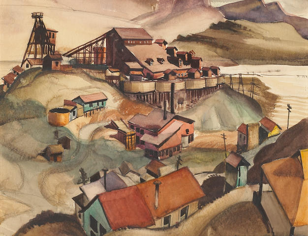 (n/a) Philip Herschel Paradise (American, 1905-1997) Arizona mining scene 15 1/2 x 19 1/4in