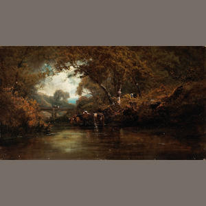 Jules Tavernier and Ransome Holdredge, Eel River, Oregan, o/c 20 1/4 x 36in