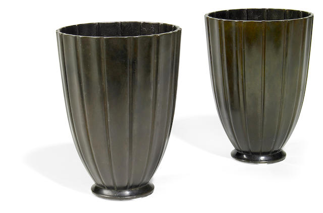 A pair of Just Andersen diskometal footed vases circa 1930