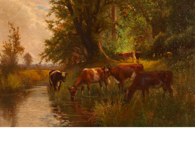Arthur Stanley Wilkinson (British, circa 1860-circa 1930) A pastoral landscape with cattle grazing and watering in a pond; also a companion landscape (a pair) both 16 x 24in