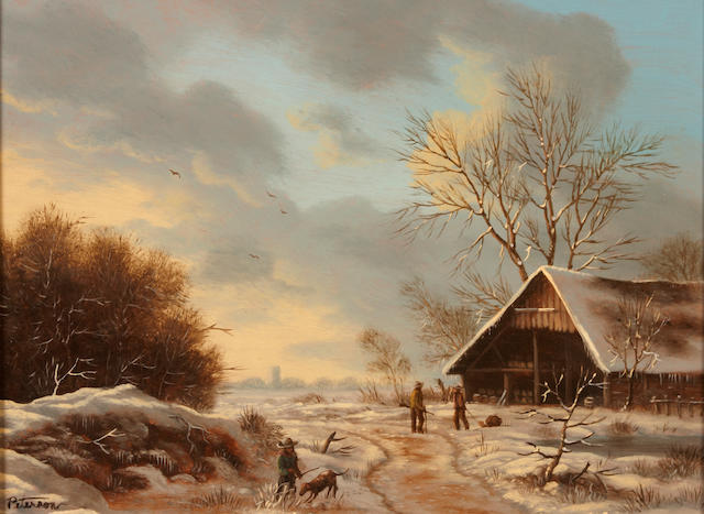 (n/a) Richard Peterson A winter landscape with figures outside a cottage; also a companion landscape (a pair) both 10 1/2 x 13 1/2in