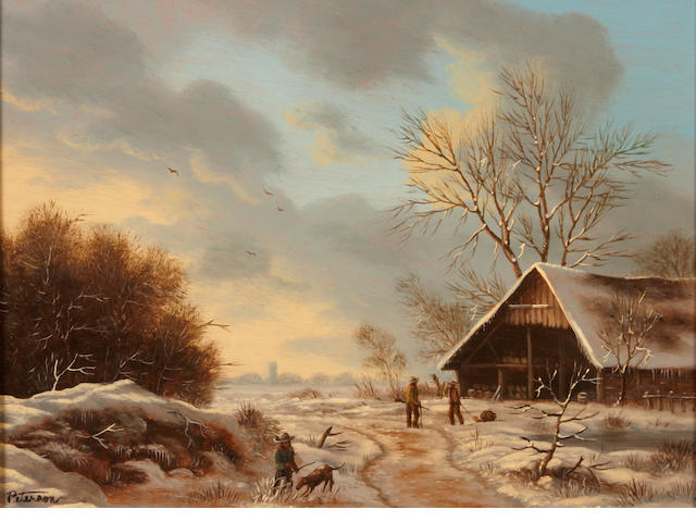 Richard Peterson A winter landscape with figures outside a cottage; also a companion landscape (a pair) both 10 1/2 x 13 1/2in