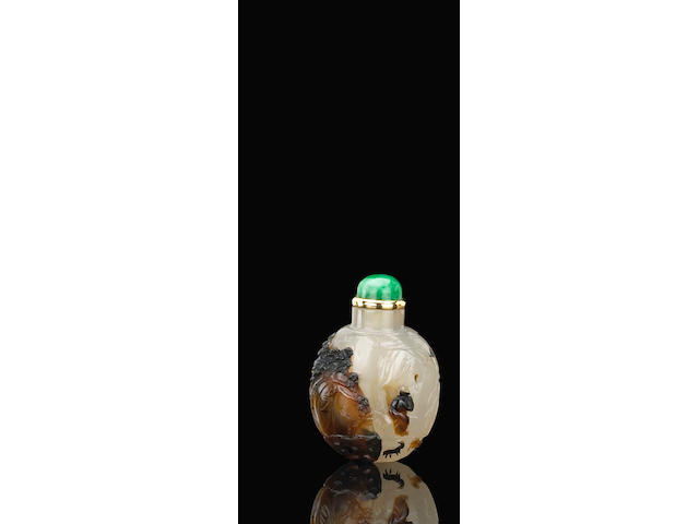 A Suzhou agate snuff bottle 瑪瑙巧色蘇州工蘇武牧羊鼻煙壺 1800-1880