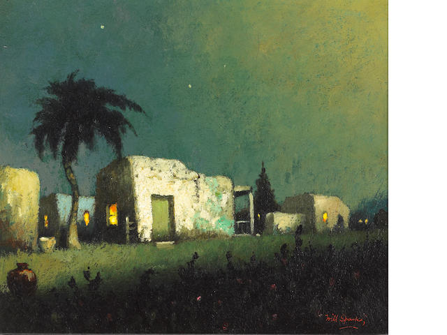 Will Sparks (American, 1862-1937) A border village at night 12 x 14in