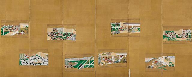 Pair of screens illustrating the Tale of Genji