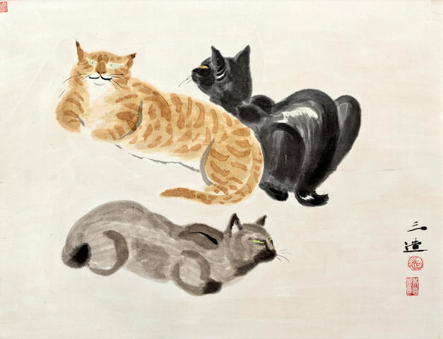 Painting on paper in mineral pigments and sumi ink mounted as a hanging scroll, with a study of three dozing cats. By Wada Sanzo (1883-1967)