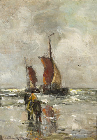 Gerhard Arij Ludwig Morgenstjerne Munthe (Dutch, 1875-1927) A horse and rider on a beach with two boats offshore 7 1/4 x 5 3/4in (18.4 x 14.6cm)