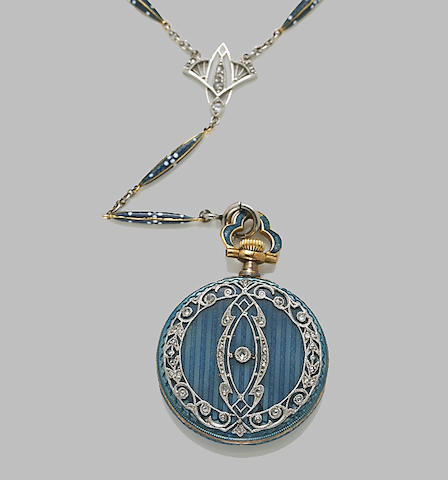 A diamond and enamel watch and chain, Tiffany & Co.