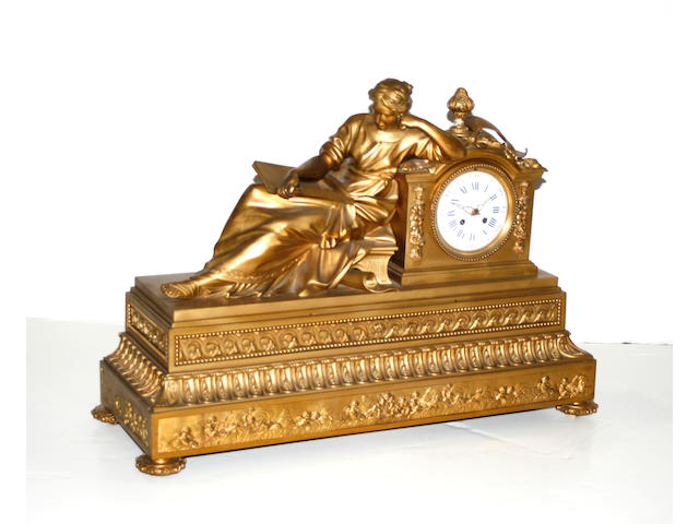 A Louis XVI style gilt bronze figural mantel clock second half 19th century