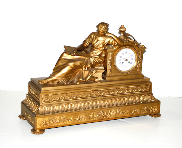 A Louis XVI style gilt bronze figural mantel clock second half 19th century