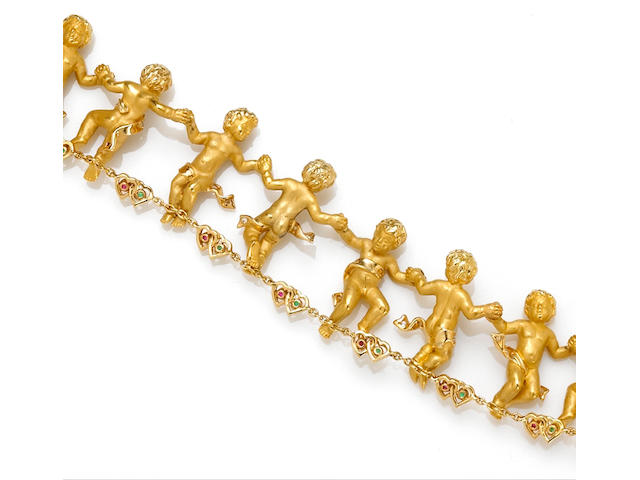 A diamond, gem-set and eighteen karat gold cherub bracelet, Carrera y Carrera