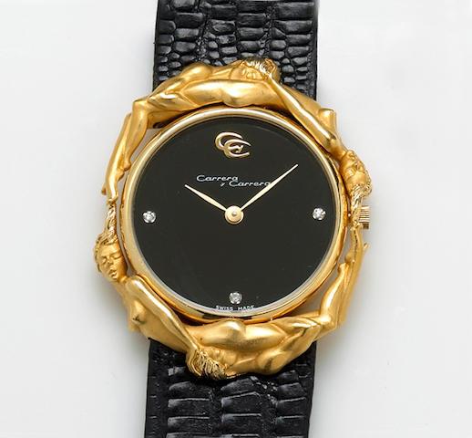An eighteen karat gold strap wristwatch, Carrera y Carrera