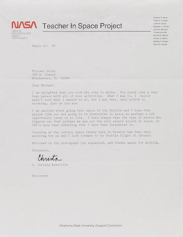 "MCAULIFFE LETTER ON ""TEACHER IN SPACE"" LETTERHEAD."