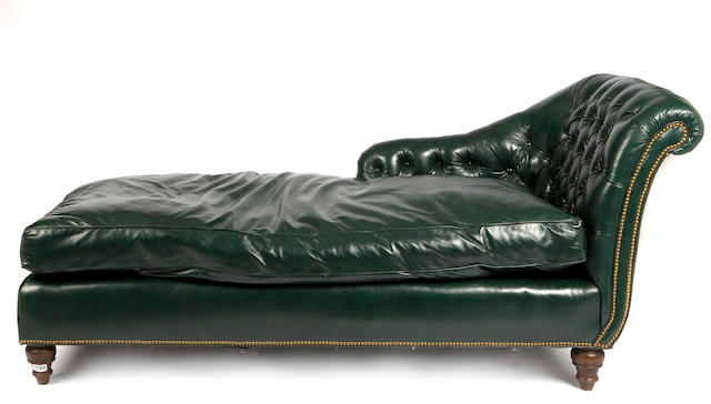 A suite of green leather upholstered furniture