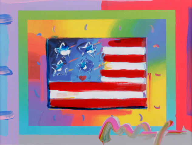 Peter Max (German/American, born 1937) Flag with Heart on Blends, 2005 sight 7 1/2 x 9 1/2in