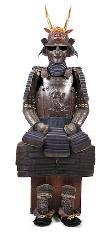A RUSSET-IRON ARMOR WITH AN UCHIDASHI CUIRASS 18th century